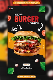 Delizioso hamburger e menu di cibo modello di storia di instagram e facebook