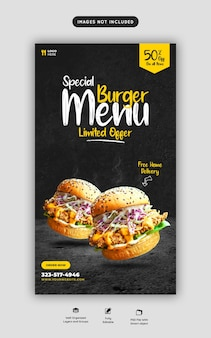 Hamburger delizioso e menu di cibo instagram e modello di storia dei social media Psd Premium