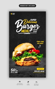 Hamburger delizioso e menu di cibo instagram e modello di storia dei social media