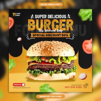 Delizioso hamburger e menu di cibo banner social media modello di post instagram