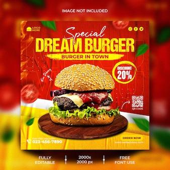 Delizioso modello di menu di hamburger e cibo per post sui social media
