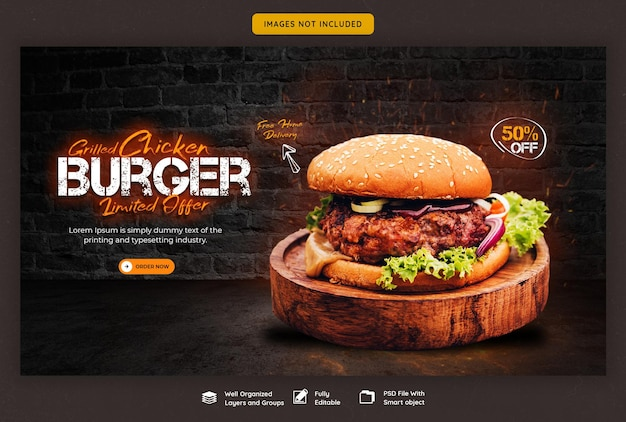 Hamburger delizioso e modello di banner web menu cibo