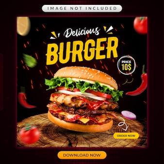 Modello promozionale di social media delizioso hamburger o ristorante