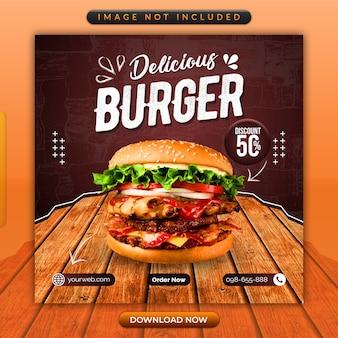 Modello di social media delizioso hamburger o ristorante