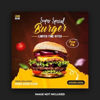 Delicious burger social media post template