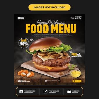 Modello di post sui social media per hamburger delizioso