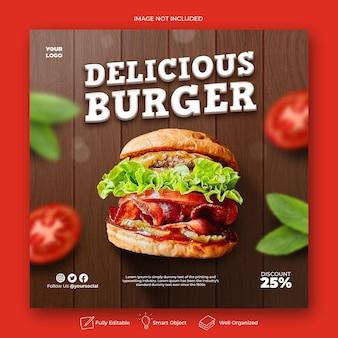 Delizioso modello di post sui social media per hamburger