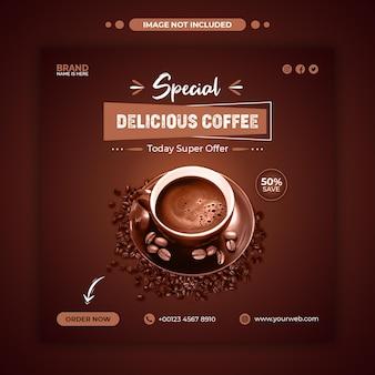 Banner web promozionale di vendita di menu di caffè delizioso o modello di post di instagram