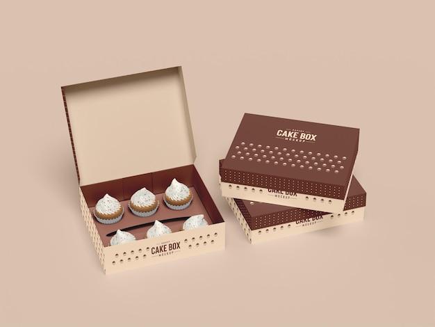 Delizioso mockup di confezione per cupcake