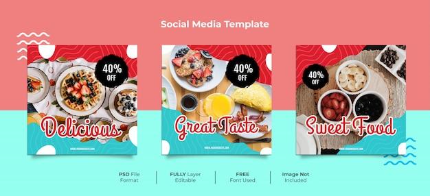 Post di social media di memphis style delizioso cibo dessert