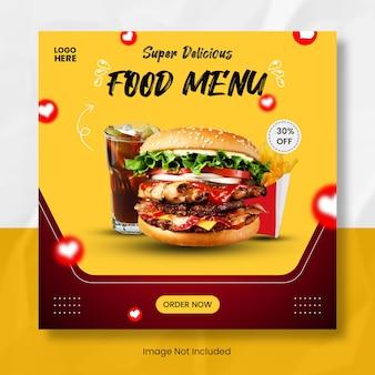 Modello di banner post instagram menu cibo delizioso