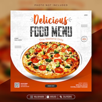 Modello di post sui social media per banner di promozione di menu di cibo delizioso