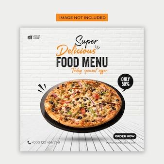 Menu di cibo delizioso social media e modello di post di instagram