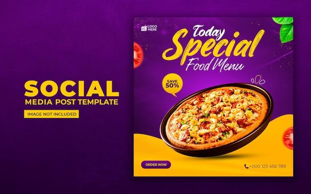 Social media di cibo delizioso e modello di post di instagram