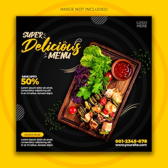 Modello di post social media cibo delizioso
