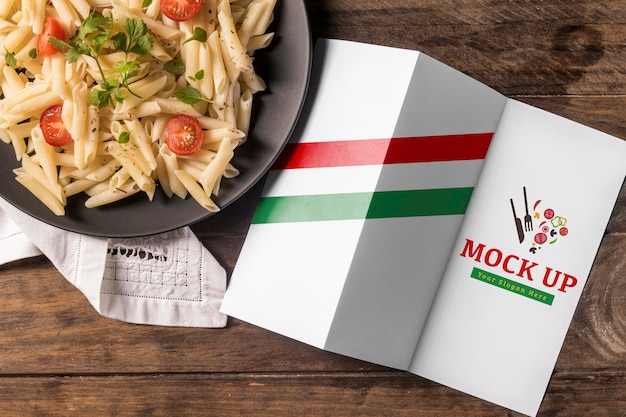 Deliziosa pasta italiana con mock-up