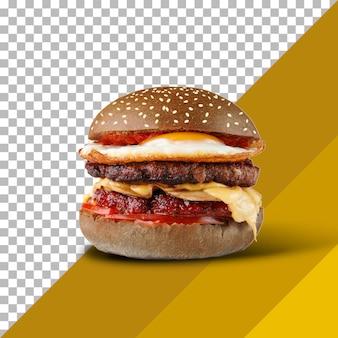 Hamburger nero delizioso e succoso con una grande cotoletta di carne su uno sfondo trasparente