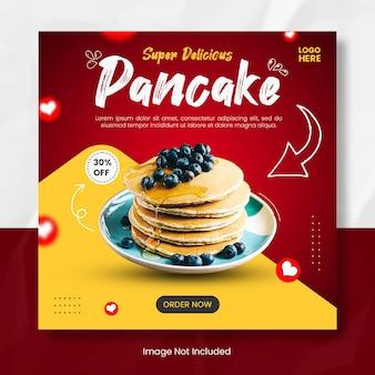 Modello di banner post instagram di pancake delizioso
