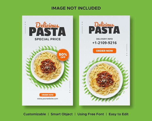 Banner di social media deliziosa pasta cibo sconto menu promozione