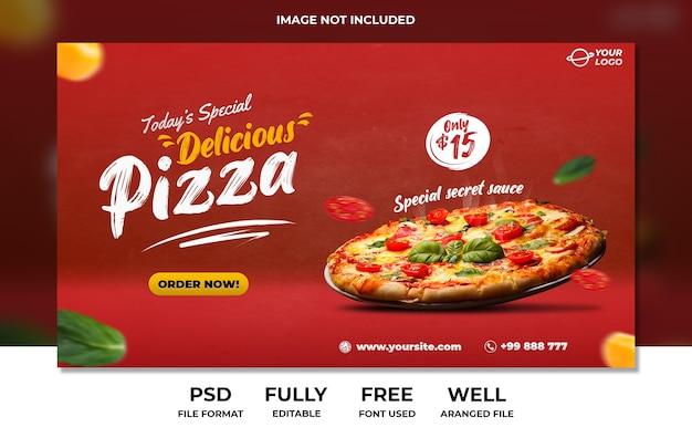 Modello di pubblicità banner pagina di destinazione deliziosa pizza fast food