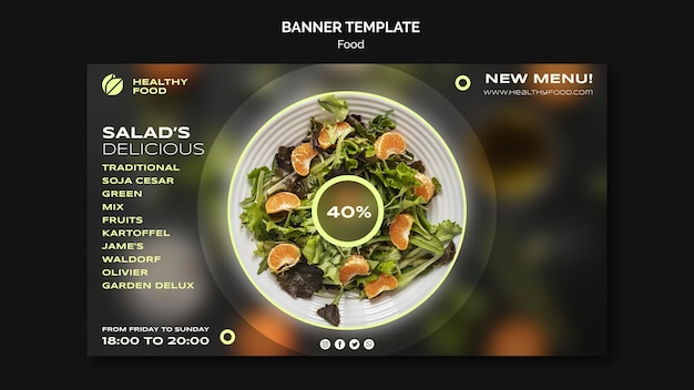 Modello di banner per insalata deliziosa