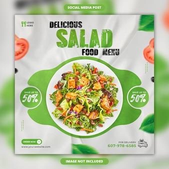 Modello di banner post instagram sui social media per la promozione dell'insalata deliziosa