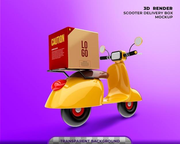 Mockup di scatola di consegna con rendering 3d di scooter