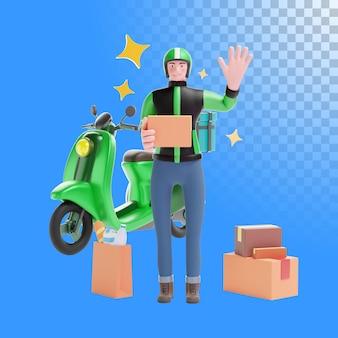 Illustrazione 3d del corriere di consegna