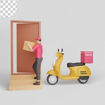 Ragazzo delle consegne su scooter. pagamento alla consegna. psd premium