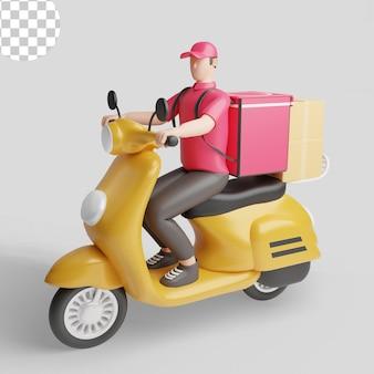 Ragazzo delle consegne su scooter. psd premium