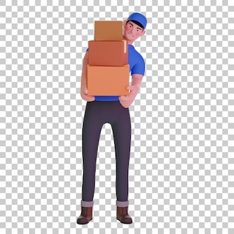 Corriere del fattorino che trasporta scatole di pacchi illustrazione 3d