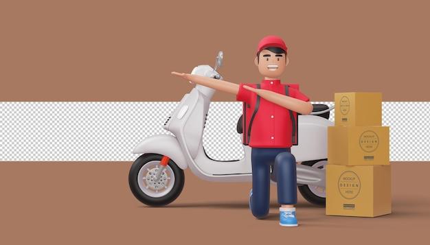 Uomo di consegna che fa dabbin con la moto, rendering 3d