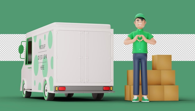 Uomo di consegna che fa una forma di cuore e cassetta dei pacchi con il camion nella rappresentazione 3d