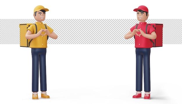 Uomo di consegna che fa una forma di cuore con le mani nella rappresentazione 3d