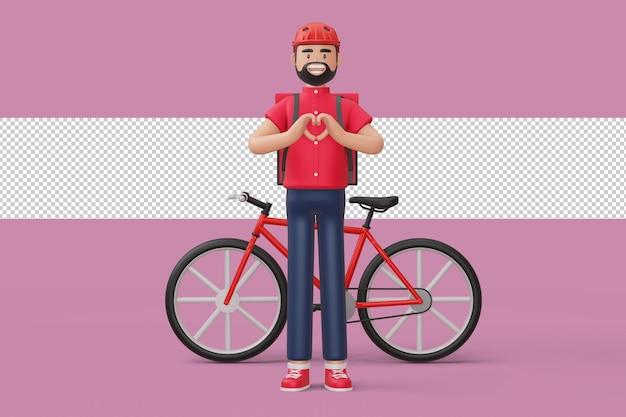 Uomo di consegna che fa una forma di cuore con le mani e una bicicletta di consegna nella rappresentazione 3d