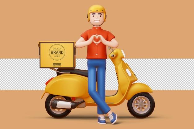 Uomo di consegna che fa una forma di cuore con le mani e una motocicletta di consegna nel rendering 3d