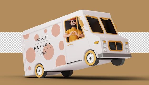 Uomo di consegna che fa una figura del cuore con il camion nella rappresentazione 3d