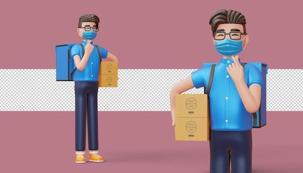 Uomo di consegna che fa mini cuore con le mani e tiene una cassetta dei pacchi in rendering 3d