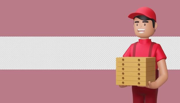 Il fattorino tiene una cassetta dei pacchi nella rappresentazione 3d