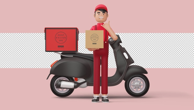 Il fattorino tiene una cassetta dei pacchi con la motocicletta di consegna nella rappresentazione 3d