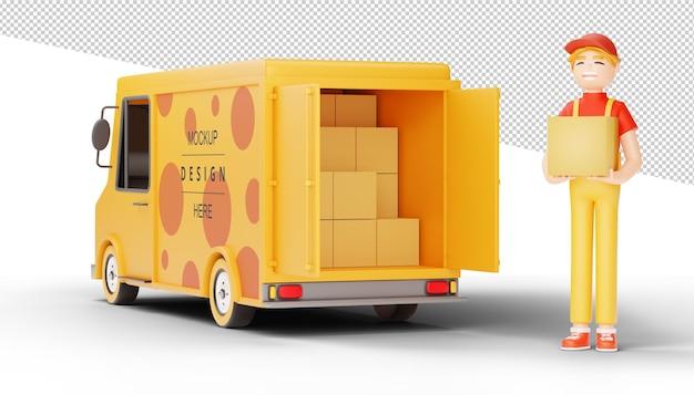 Il fattorino tiene un pacco con il camion di consegna nella rappresentazione 3d