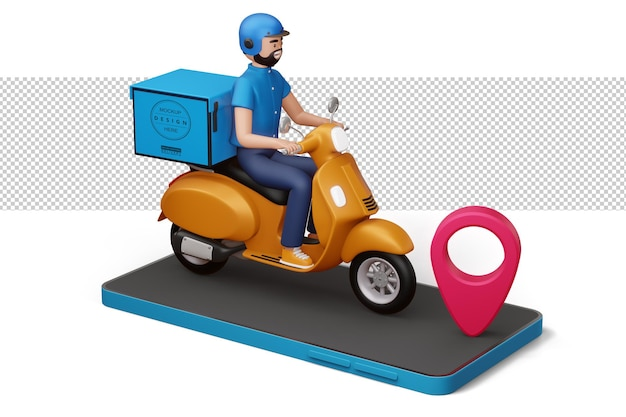 Uomo di consegna in sella a una moto sul telefono con il perno rosso nella rappresentazione 3d