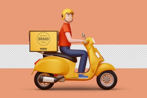 Uomo di consegna in sella a una moto con scatola di consegna in rendering 3d