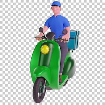 Uomo di consegna in sella a scooter 3d illustration