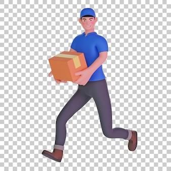 Uomo di consegna che corre veloce consegna pacchetto 3d illustration
