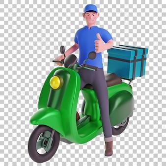 Fattorino in uno scooter con il pollice in alto 3d illustration