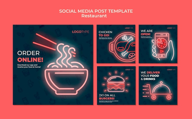 Modello di post sui social media del ristorante di consegna
