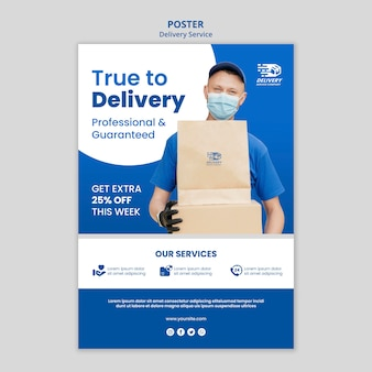 Modello di poster del servizio di consegna