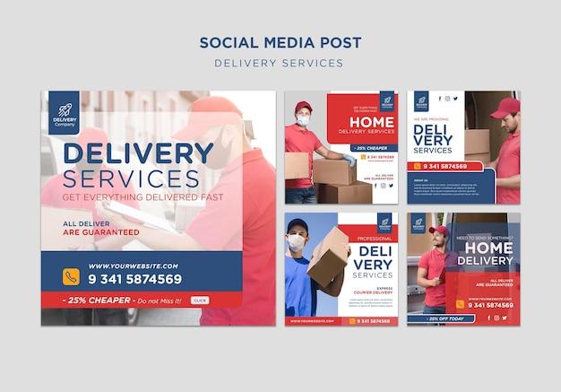 Modello di post sui social media dei servizi di consegna
