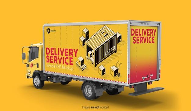 Mockup di camion di consegna vista prospettica posteriore